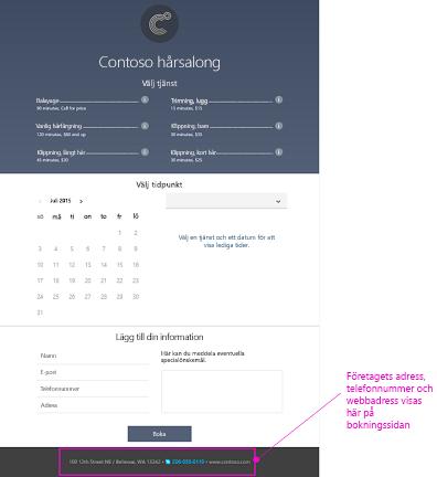 Exempel på en sida för bokning som används av kunder