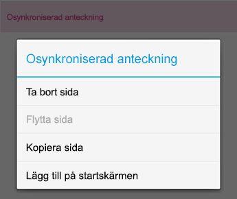 Menyn anteckning i OneNote för Android