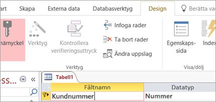 Välja ett primärnyckelfält i en ny Access-tabell