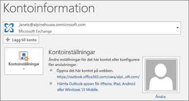 Skärmbild av Outlook-sidan Kontoinformation i Backstage-vyn.