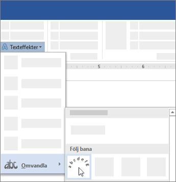 Alternativ för att omvandla text till att följa en bana