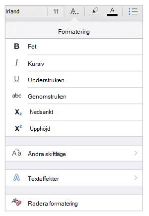 Alternativ för textformatering