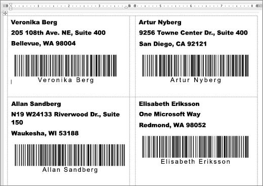 Bild av vissa etiketter med adress och streckkoder