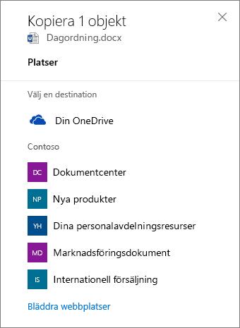 Skärmbild av hur du väljer ett mål när du kopierar filer från OneDrive för företag till en SharePoint-webbplats.