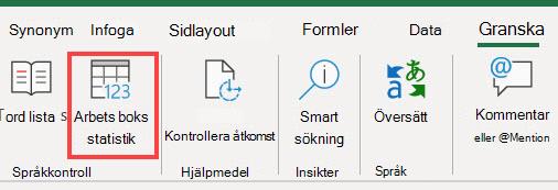 Kommandot Arbetsboksstatistik i menyfliksområdet Excel menyfliksområde