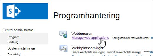 Öppna inställningar för webbprogram
