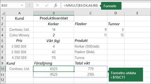 Funktionen MMULT – exempel 2