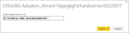 Ange ditt klientorganisations-ID om du vill öppna pbit-filen