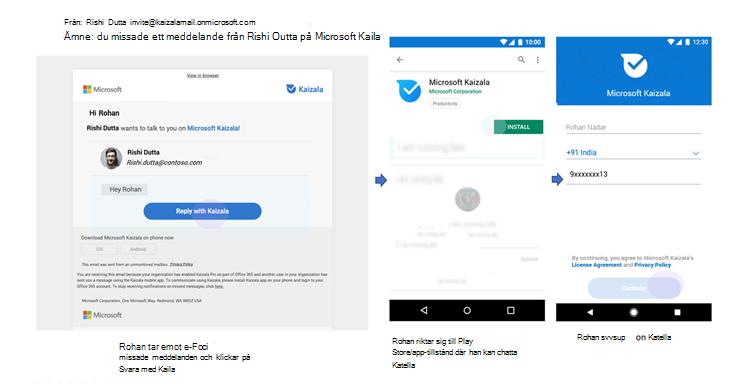 Bilder av telefon gränssnitt för missade meddelanden för en användare som inte finns på Kaizala.