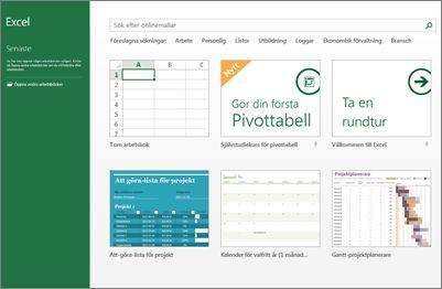 Några av mallarna som finns i Excel