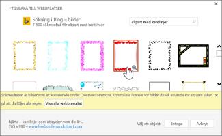 Välj ett ClipArt-objekt för kantlinje som du vill använda