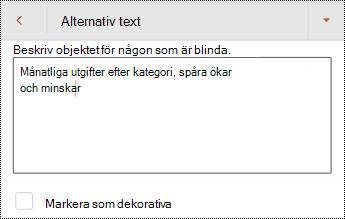 Alternativ text för en tabell i PowerPoint för Android.