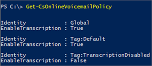 Get-CsOnlineVoiceMailPolicy results window.