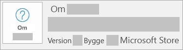 Skärmbild som visar att version och bygge är Microsoft Store