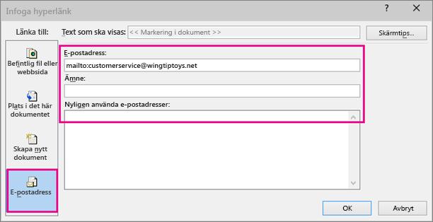 Visar dialogrutan med alternativet för att infoga en länk i ett e-postmeddelande markerat