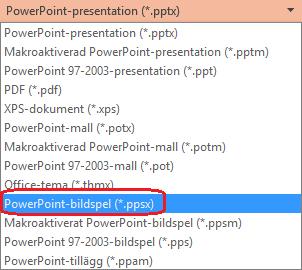 Listan över filtyper i PowerPoint innehåller PowerPoint-bildspel (.ppsx)