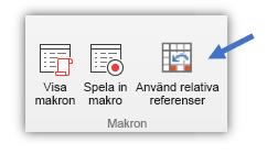 """skärmbild som visar knappen """"Använd relativa referenser"""""""