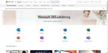 Startsidan för utbildningscentret för Office med ikoner för de olika Office-programmen och paneler för tillgängliga innehållstyper