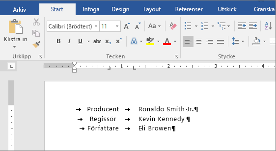 I ett exempel visas text som justerats efter tabbstopp på linjalen.