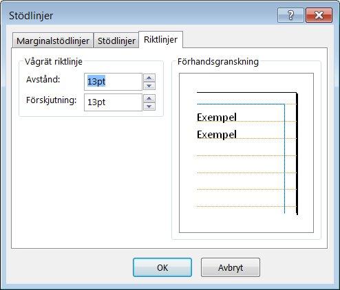Dialogrutan Stödlinjer i Publisher med fliken Riktlinjer