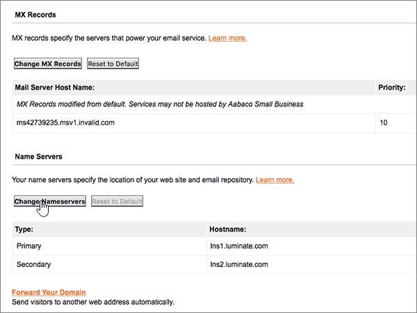 Klicka på Ändra på sidan Domain Control Panel