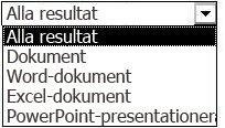 Resultatalternativ inklusive Alla resultat, Dokument, Word-dokument, Excel-dokument och PowerPoint-presentationer