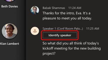 Välj Identifiera talare