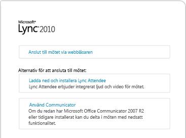 Bild av Lync-webbläsarfönstret