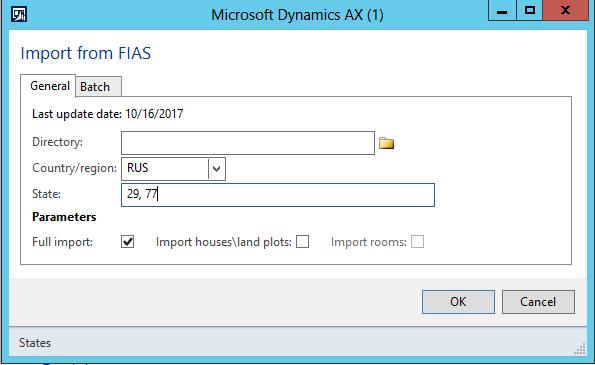 Fullständiga adresser importera från FIAS