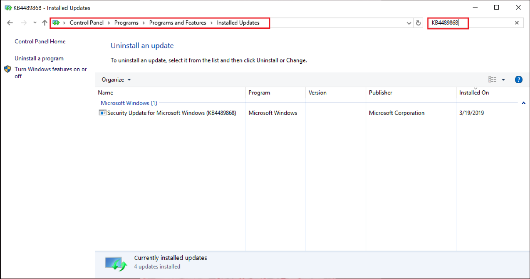 """Bild av dialog rutan """"installerade uppdateringar"""""""
