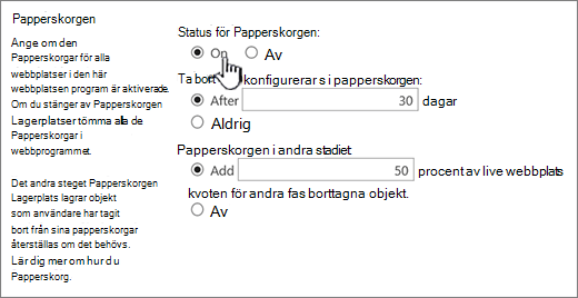 avsnittet utskriftsinställningar webbsida programmet allmänna inställningar för Papperskorgen