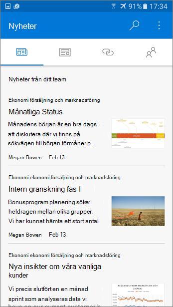 Skärmbild av fliken diskussionsgrupper