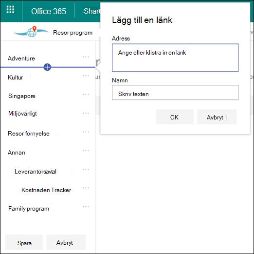 Redigera SharePoint Hub navigering