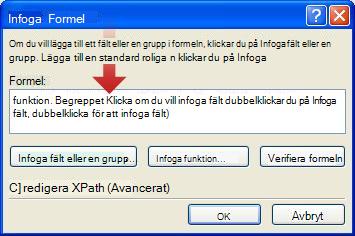 Dubbelklicka för att infoga det första fältet som ska användas som en del av formulärnamnet
