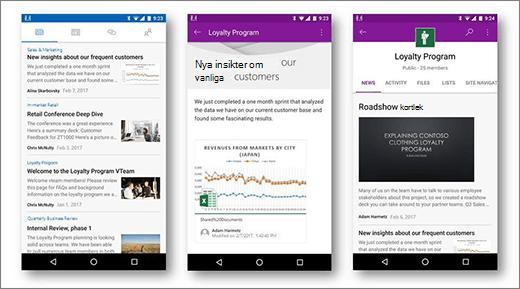 SharePoint-diskussionsgrupper på Android mobila enheter