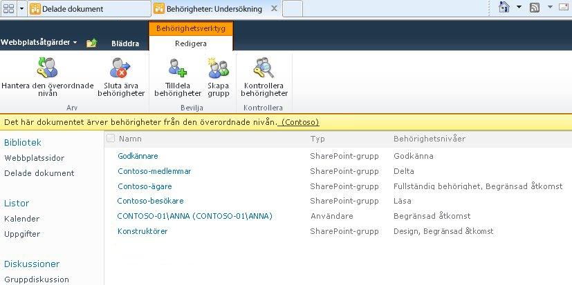 Ärva behörigheter från en överordnad webbplats