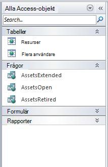 Navigeringsfönster som visar gruppen Alla Access-objekt i kategorin Objekttyp