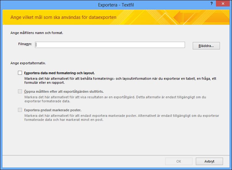 Välj dina exportalternativ i dialogrutan Exportera – textfil.