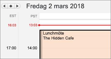 Närbild av kalender med två olika tidszoner till vänster