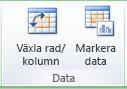 Bild av menyfliksområdet i Excel