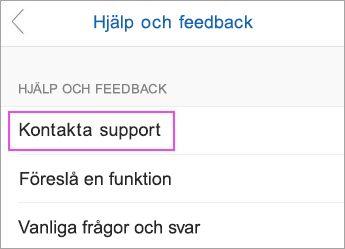 Välj Kontakta support