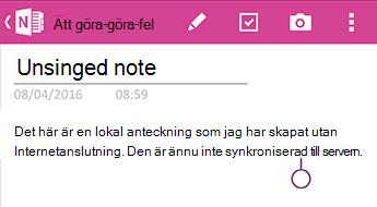 En osynkroniserade anteckning i OneNote för Android