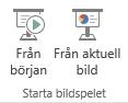 Starta presentationen genom att växla till fliken Visa och välja en av knapparna Starta bildspel.