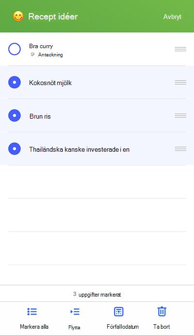Skärmbild som visar kryssrutan Flytta till menyn på iOS