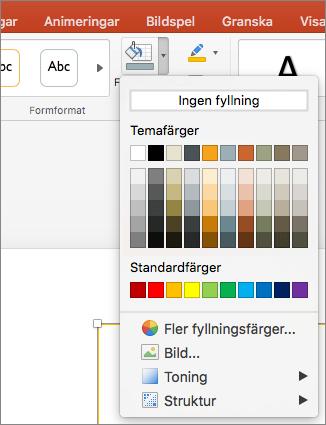 Skärmbild som visar de alternativ som finns tillgängliga från menyn Figurfyllning, inklusive Ingen fyllning, Temafärger, Standardfärger, Fler fyllningsfärger, Bild, Toning och Struktur.