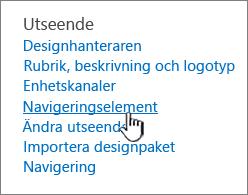 Navigeringselement i Webbplatsinställning-menyn