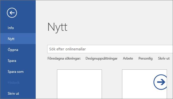 Visar skärmen Arkiv > Nytt i Word 2016