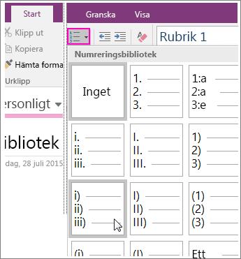 Skärmbild av hur du lägger till numrering på en sida i OneNote 2016.