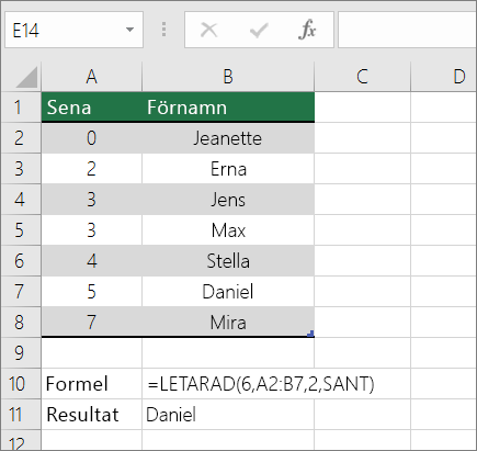 Ett exempel på formeln LETARAD som letar efter en exakt matchning