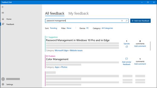 Dialog rutan Sök i feedback i hubben för feedback